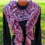 Knitted scarf crochet, colorful in ..