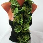 Elegant curly scarf,Multicolor, gre..